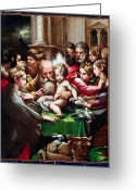 Rabbi Greeting Cards - The Circumcision Greeting Card by Francesco Mazzola Parmigianino