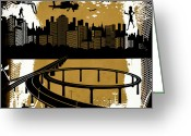Interstate Greeting Cards - The City 2 Greeting Card by Angelina Vick