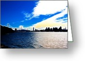 Oakland Bay Bridge Greeting Cards - The City By The Bay Greeting Card by Wingsdomain Art and Photography