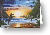 Running Horse Painting Greeting Cards - The Clash Greeting Card by Jeffrey Oldham
