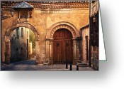 Old Street Photo Greeting Cards - The Claustra Gate in Segovia Greeting Card by Levin Rodriguez