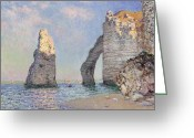 Tranquil Greeting Cards - The Cliffs at Etretat Greeting Card by Claude Monet