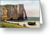 Courbet Greeting Cards - The Cliffs at Etretat Greeting Card by Gustave Courbet