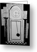 Clock Drawings Greeting Cards - The Clock Greeting Card by Adolfo hector Penas alvarado