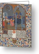 1300s Greeting Cards - The Clock Of Wisdom, Illuninated Greeting Card by Science Source