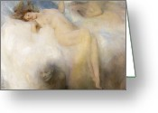 Erotica Painting Greeting Cards - The Cloud Greeting Card by Arthur Hacker