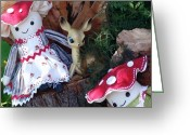 Deer Sculpture Greeting Cards - The Club Greeting Card by Leeanne Vavra