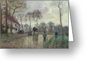 Raining Painting Greeting Cards - The Coach to Louveciennes Greeting Card by Camille Pissarro