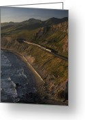 Public Transportation Greeting Cards - The Coast Starlight Train Snakes Greeting Card by Phil Schermeister