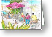 Los Angeles Painting Greeting Cards - The-Coffee-Bean-Farmers-Market Greeting Card by Carlos G Groppa