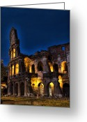 Lit Greeting Cards - The Coleseum in Rome at night Greeting Card by David Smith