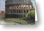 Ancient Ruins Greeting Cards - The Coliseum Rome Greeting Card by Anna Bain