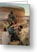 Ancient Rome Greeting Cards - The Coliseum Greeting Card by Sir Lawrence Alma-Tadema