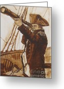 Colonial Man Painting Greeting Cards - The Colonial Greeting Card by Hannah Dise