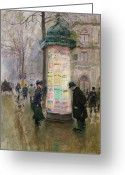 Bowler Hat Painting Greeting Cards - The Colonne Morris Greeting Card by Jean Beraud