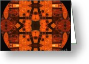 Wife Gift Greeting Cards - The Color Orange Mandala Abstract Greeting Card by Zeana Romanovna