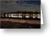 Rowing Crew Greeting Cards - The Colorful Lights of Boathouse Row Greeting Card by Bill Cannon