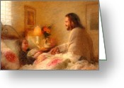 Jesus Art Painting Greeting Cards - The Comforter Greeting Card by Greg Olsen