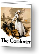 Nurse Greeting Cards - The Comforter Greeting Card by War Is Hell Store
