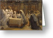 James Jacques Joseph Greeting Cards - The Communion of the Apostles Greeting Card by Tissot