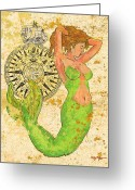 Island Artist Pastels Greeting Cards - The Compass and the Mermaid Greeting Card by William Depaula