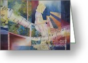 Music Notes Greeting Cards - The Composition Greeting Card by Deborah Ronglien