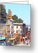 Little Italy Greeting Cards - The Condor On Broadway and Columbus Street in San Francisco Greeting Card by Wingsdomain Art and Photography