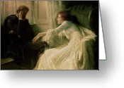Engagement Painting Greeting Cards - The Confession Greeting Card by Sir Frank Dicksee