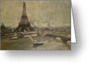 River. Clouds Greeting Cards - The Construction of the Eiffel Tower Greeting Card by Paul Louis Delance