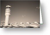 Ronald Greeting Cards - The control tower and Greeting Card by Stephen Alvarez