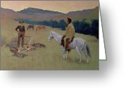 Conversation Greeting Cards - The Conversation Greeting Card by Frederic Remington