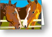 Quarter Horses Greeting Cards - The Conversation Greeting Card by Su Humphrey