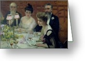 Evening Dress Greeting Cards - The Corner of the Table Greeting Card by Paul Chabas