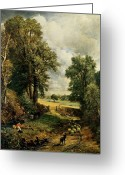 Sheepdog Greeting Cards - The Cornfield Greeting Card by John Constable