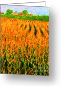 Impressionist Art Greeting Cards - The Cornfield Greeting Card by Wingsdomain Art and Photography