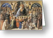 Coronation Greeting Cards - The Coronation of the Virgin Greeting Card by Fra Filippo Lippi