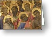 Coronation Greeting Cards - The Coronation of the virgin Greeting Card by Lorenzo Monaco