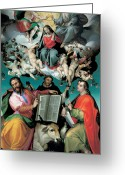 Saint Luke The Evangelist Greeting Cards - The Coronation of the Virgin with Saints Luke Dominic and John the Evangelist Greeting Card by Bartolomeo Passarotti