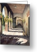 Shadows Greeting Cards - The Corridor 2 Greeting Card by Sam Sidders