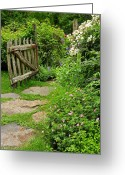 Flower Gardens Greeting Cards - The Cottage Garden Walkway Greeting Card by Thomas Schoeller