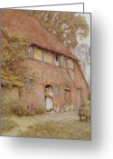 Wooden Home Greeting Cards - The Cottage with Beehives Greeting Card by Helen Allingham