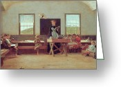 Schoolhouse Painting Greeting Cards - The Country School Greeting Card by Winslow Homer