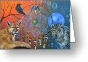 Cougar Greeting Cards - The Courage to be Free Greeting Card by Sundara Fawn