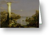 Hudson River School Greeting Cards - The Course of Empire - Desolation Greeting Card by Thomas Cole