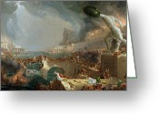 Hudson River School Greeting Cards - The Course of Empire - Destruction Greeting Card by Thomas Cole