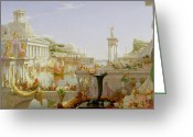 Portico Greeting Cards - The Course of Empire - The Consummation of the Empire Greeting Card by Thomas Cole