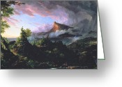 Hudson River School Greeting Cards - The Course of Empire - The Savage State Greeting Card by Thomas Cole