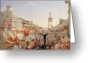 Cole Painting Greeting Cards - The Course of Empire Greeting Card by Thomas Cole