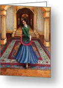 Dancer Greeting Cards - The Court Dancer Greeting Card by Enzie Shahmiri
