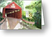 Covered Bridge Painting Greeting Cards - The Covered Bridge Greeting Card by Vickey Swenson
